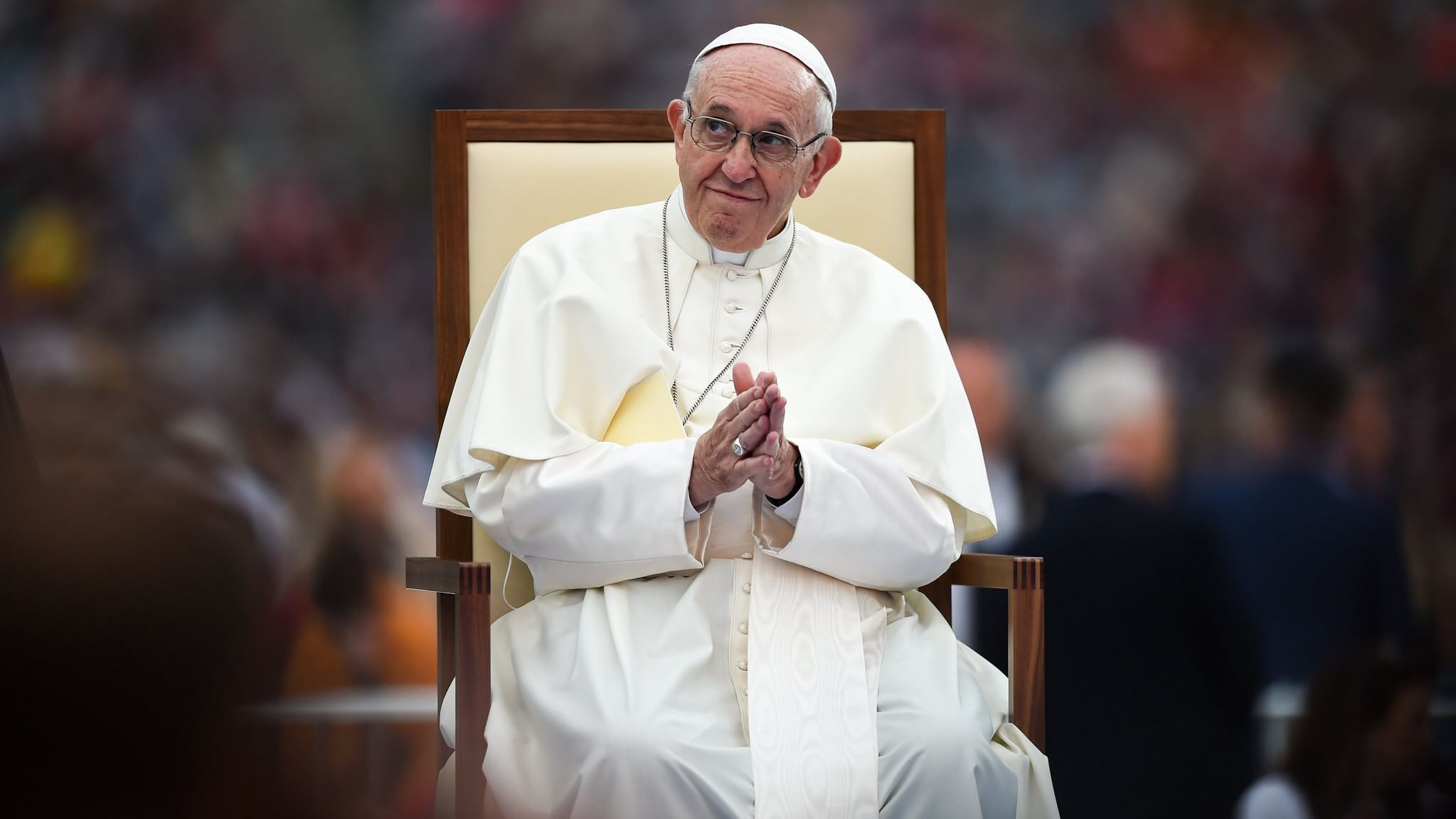 Pope France holding mass in the Vatican