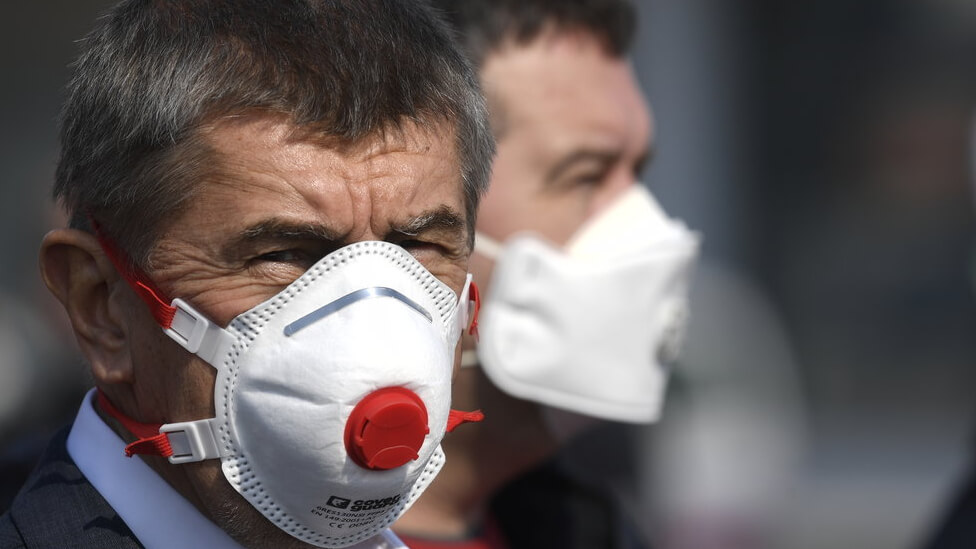 Czech Prime Minister Andrej Babis with a protective mask