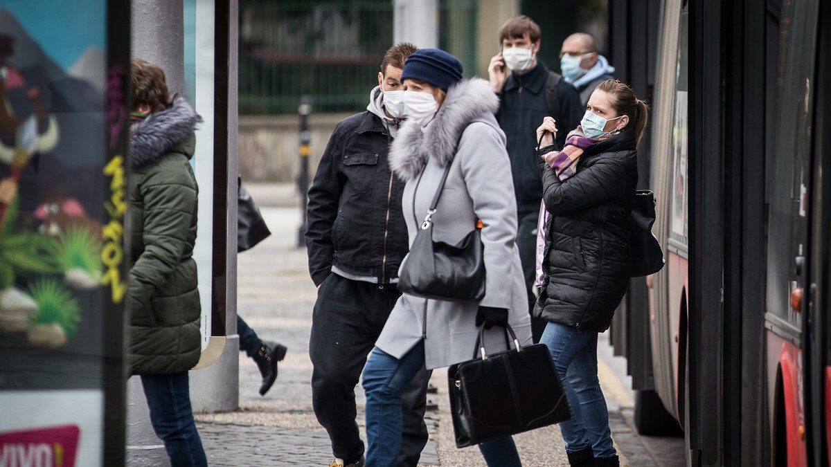 People wearing protective face masks in public transport in Bratislava