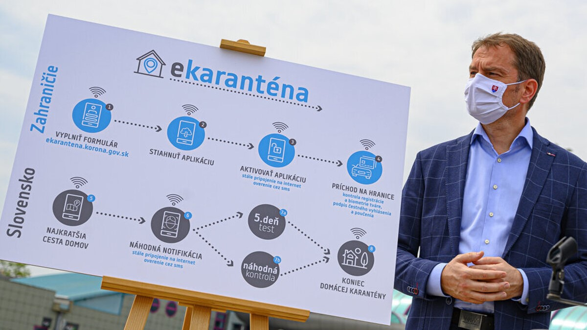 Slovak Prime Minister Igor Matovic unveils the smart quarantine app
